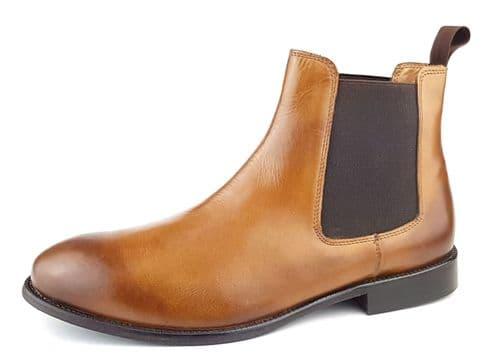 Leather Sole Mens Chelsea Boots Cognac